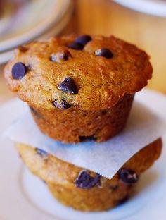 Pumpkin chocolate chip muffins  combining banana bread   chocolate chips   pumpkin. Healthy, low-fat, light and moist