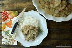 Easy Cream of Mushroom Pork Chops - Toot Sweet 4 Two Creamed Mushrooms, Stuffed Mushrooms, Stuffed Peppers, Stuffed Pork, Pork Chop Recipes, Meat Recipes, Cooking Recipes, Pork Dishes, Tasty Dishes