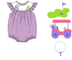 Lavender and Light Pink Seersucker Smocked Golf Bubble