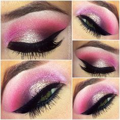 @makeupartistdani✨ here are the steps below on how she created the look   1.) Primer on entire eyelid  2.) Highlight at brow bone with a soft pinkish white   3.) A hotter baby pink at the crease from TNT palette #2   4.) A deep dark pink at the outter v shape and blend into the crease  5.) A soft sparkly pink from TNT cosmetics pallet #1 on the inner corner of the eyes and blend into the center crease  6.) Place a wet gel on the center lid of eyes then top with the same p...