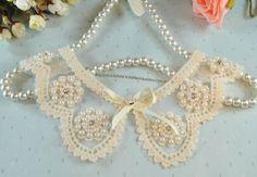 Amazon.com: Fashion Lace Pearl Bow False Collar: Beauty