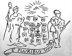 """E pluribus unum is the motto suggested by the committee Congress appointed on July 4, 1776 to design """"a seal for the United States of America."""" The below sketch of their design accompanied a detailed description of their idea for the new nation's official emblem"""