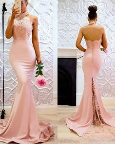 Charming Custom Made Halter High Neck Pink Prom dress Long Mermaid Evening Party Gown Fitted Bridesmaid Dresses, Prom Dresses Long Pink, Bridesmaid Dress Colors, Wedding Dresses, Dress Long, Formal Dresses, Evening Party Gowns, Evening Dresses, Long Party Gowns
