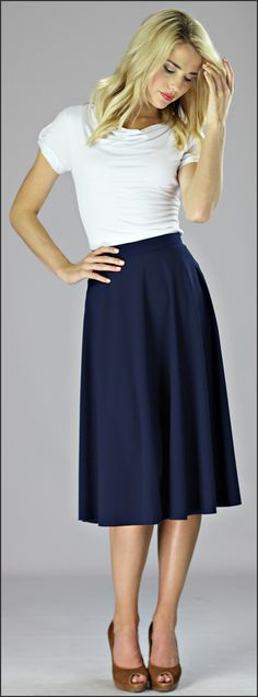 Crepe Skirt Mid Length in Navy [W2402] - $39.99 : Mikarose Fashion, Reinventing Modest Fashion