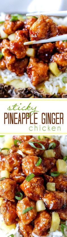 Quick & easy weeknight dinner - Baked or stir fried Pineapple Ginger Chicken smothered in the most crazy delicious sweet pineapple sauce with a ginger Sriracha kick that is WAY better than takeout.