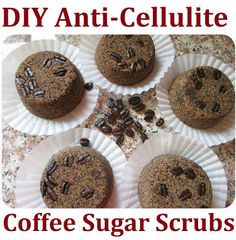 DIY Anti-Cellulite Homemade Sugar Coffee Bar Scrubs.  1 cup coffee grounds 2 cups raw sugar 1 Tbsp corn flour 3 Tbsp cocoa butter cream  1tsp vanilla essence  Mix dry ingredients together. Melt cocoa butter cream in water bath & melt until liquid. Mix all together. Spray with water & essence mix. Put into molds. Set aside to dry over night, remove from mold and let completely dry for a few hours
