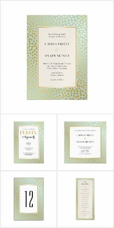 Mint and Gold Confetti Polka Dots Wedding Invitations. Matching products available: Table cards, thank you cards, RSVP, programs and more.