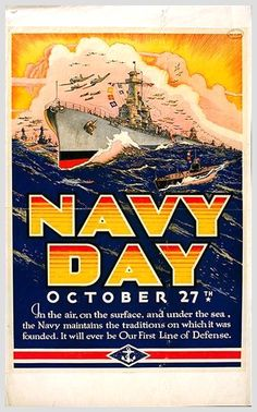Navy Day - Vintage Reproduction Poster: Navy Day - Vintage Reproduction Poster x Poster Printed on High Quality Paper Ww2 Propaganda Posters, Navy Day, Navy Life, Navy Veteran, Military History, Military Art, Naval History, Navy Military, United States Navy