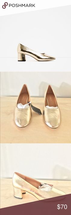 Zara gold mid heel laminated shoes Brand new with tag and box Zara Shoes Heeled Boots