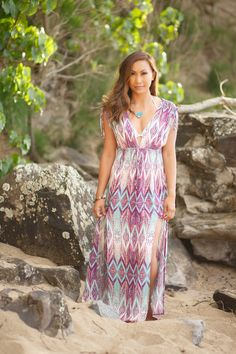 I'm wearing a beautiful maxi cover up from Target ($19.99). The backdrop is in Maui at Honolua Bay.