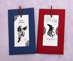 Year of the Horse Bookmark Greeting Card Chinese New Year Greeting, Chinese New Year Crafts, New Year Greeting Cards, New Year's Crafts, Arts And Crafts, Chinese Holidays, Year Of The Horse, Chinese Design, Horse Gifts