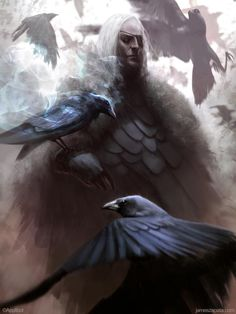 Odin and ravens. Now THAT's the god of magic and poetry, not some Viking bruiser.