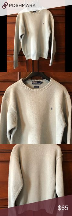 """Polo by Ralph Lauren. Classic Crewneck Sweater. M A timeless classic from Polo by Ralph Lauren. Cotton crewneck sweater. Perfect condition. Dusty blue grey. A staple for any classic wardrobe.  19 1/2"""" width shoulder to shoulder 24"""" sleeve 26"""" length Polo by Ralph Lauren Sweaters Crew & Scoop Necks"""