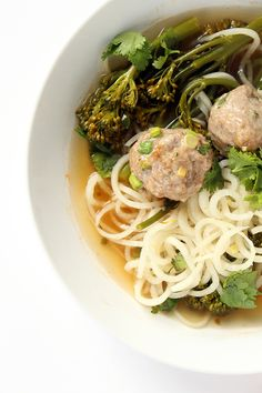 Daikon Noodles and Broccolini with Asian Pork Meatballs omit the hot sauce.  Could use spinach or kale for the broccolini .