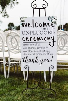 Black and white unplugged wedding ceremony sign: http://www.stylemepretty.com/ohio-weddings/2016/11/09/a-yacht-club-wedding-with-raspberry-peonies-yes-please/ Photography: Astor & Olive - http://asterandolivephoto.com/