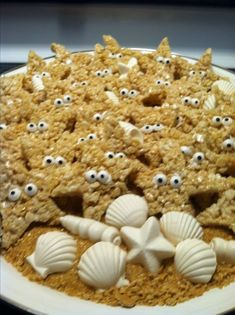 """OMG this is adorable. My version of Rice Krispie starfish treats with white chocolate candies for an """"Under the Sea"""" party ! Cl Birthday, Birthday Parties, Mermaid Birthday, Birthday Ideas, Tea Parties, Dolphin Party, Shark Party, Chocolate Candies, White Chocolate"""