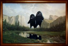 my daughter found these on tumlber,painting over thrift store art. I don't know the artist but I love these!
