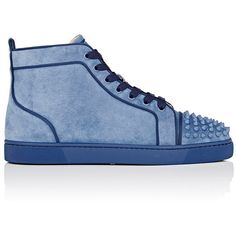 Christian Louboutin Men's Lou Spikes Orlato Flat Suede Sneakers ($995) ❤ liked on Polyvore featuring men's fashion, men's shoes, men's sneakers, mens lace up shoes, mens spiked shoes, mens high top sneakers, christian louboutin mens sneakers and mens cap toe shoes