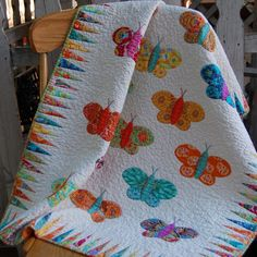 BRIGHT BUTTERFLY Hand Applique Quilt in Bright Summer Colors