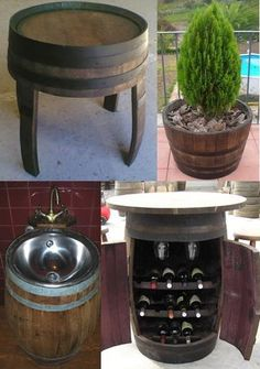 Old barrel crafts.love the idea of a wine bar in an old wine barrel and the planter Barris, Barrel Projects, Do It Yourself Home, Home Furniture, Barrel Furniture, Repurposed Furniture, Diy Craft Projects, Decoration, Woodworking Projects