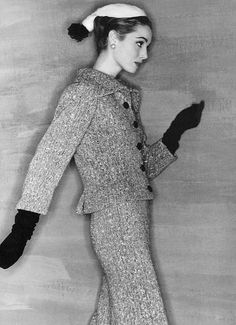 French Vogue, 1954.  Photographer: Clifford Coffin.  Model: Elsa Martinelli.  Tweed suit: Balenciaga.