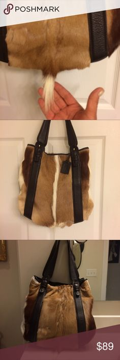👛 purse💐 Real ELK fur purse, gorgeous never used studs at the bottom, two pockets inside also zipper inside, Excellent condition👛 straps are dark brown buckles in front and back the colors are dark brown cream ,beige ,white DIANE GAIL Bags Shoulder Bags
