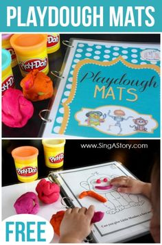 FREE printable playdough mats!  Totally printing these out for my kiddos.  It would make great Christmas presents too. Via Sing a Story