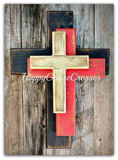 This Wall Wood Cross - OFFSET - Small - Rustic Antiqued Black, Red, and Gold, with OPTIONAL small silver top cross is just one of the custom, handmade pieces you'll find in our wall hangings shops. Wooden Crosses, Crosses Decor, Wall Crosses Diy, Wire Crosses, Barn Wood Projects, Small Wood Projects, Vinyl Projects, Rustic Cross, Rustic Wood