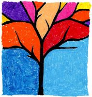 Art Projects for Kids: Abstract Tree.  negative space.  branches run off paper, fill in with color (oil pastels shown)