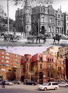 Robert Stanley Bagg mansion, Montreal (now Adrenaline tattoos & piercings) 1900 & 2003 Old Montreal, Montreal Ville, Montreal Quebec, Quebec City, Hidden Pictures, Old Pictures, Old Photos, Photo Vintage, Secret Places