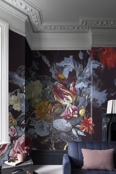 'A Vase of Flowers with a Watch' Wallpaper Mural from the Ashmolean Museum collection. Flores Wallpaper, Watch Wallpaper, Wall Art Wallpaper, Mural Wall Art, Mural Floral, Flower Mural, Floral Wall, Chinoiserie, Renovation Paris