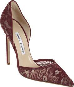 Manolo Blahnik lace pump. #shoes #heels