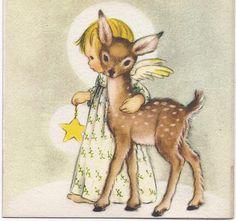 Cute Deer and Angel Card