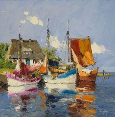 Buy Erich Paulsen Original Paintings for Worldwide Delivery Seascape Paintings, Landscape Paintings, Watercolor Paintings, Original Paintings, Original Artwork, Boat Art, Boat Painting, Painting Art, Nautical Art