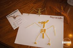 Pterodon Pasta dinosaur skeleton Craft for Preschoolers Creative Activities For Toddlers, Summer Preschool Activities, Preschool Board Games, Dinosaur Activities, Preschool Crafts, Preschool Science, Preschool Kindergarten, Stem Activities, Preschool Ideas