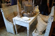 Maison Douce: Barn House Marketplace - benches with a primitive table