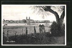Alte Ansichtskarte: AK Rees, Partie am Rhein mit Blick zur Ortschaft
