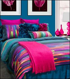 70 Amazing Colorful Bedroom Decor Ideas And Remodel for Summer Project 22 – Home Design Colorful Bedroom Decor, Girl Beds, Home, Bedroom Themes, Dream Bedroom, Bedroom Design, Girl Room, Bedroom Colors, Bedroom