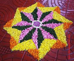 50 Most Beautiful Flower Rangoli Designs (ideas) that you can make during any occasion on the living room or courtyard floors. Rangoli Designs Latest, Rangoli Designs Flower, Rangoli Designs Diwali, Rangoli Designs Images, Flower Designs, Latest Rangoli, 3d Rangoli, Rangoli Ideas, Simple Rangoli