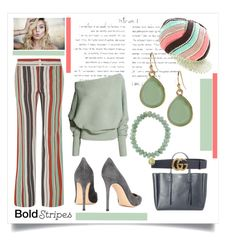 """""""Bold Stripes"""" by valerie-42 ❤ liked on Polyvore featuring Gianvito Rossi, Lanvin, Gucci, Missoni, Chloé, Banana Republic and Sydney Evan"""