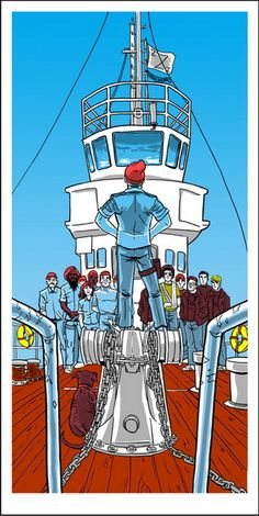 "Life Aquatic, hand made screen print by Tim Doyle for Spoke Art's ""Bad Dads"" Wes Anderson tribute show."