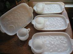 Milk Glass Snack Trays 4 sets Vintage Hazel by RoseArborVintage