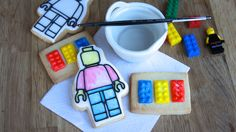 - Painting Lego cookies with water and a cookie paint pallet, this technique was invented by me, and it is a huge hit with the kids who have tried it. Lego Cookies, Paint Cookies, Cookies For Kids, Fancy Cookies, How To Make Cookies, Cupcake Cookies, Sugar Cookies, Pirate Cookies, Cookie Games