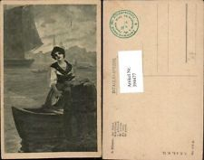 394477,Künstler AK A. Ribano Im Hafen Frau in Tracht Boot Segelboot