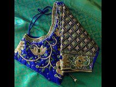 Royal Blue blouse with Golden lotus maggam work blouse Wedding Saree Blouse Designs, Pattu Saree Blouse Designs, Fancy Blouse Designs, Wedding Blouses, Hand Work Blouse Design, Stylish Blouse Design, Latest Maggam Work Blouses, Maggam Work Designs, Sleeve Designs