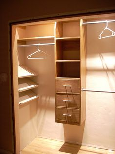 a nice closet remodel. converted single rail to 3 rails with some cabinets (possibly add shelving all the way to bottom/ a pant hanging rack within the shelves) Master Closet, Closet Bedroom, Home Bedroom, Home Projects, Home Crafts, Barn Bedrooms, Closet Remodel, Hanging Racks, Guest Rooms