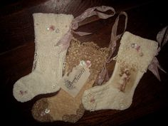 Sweet Vintage Lace Tea Dyed Shabby Woolen Small Christmas Stocking Ornament