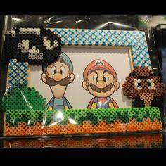 Super Mario photo frame perler beads by joshua_mzn. Melty Bead Patterns, Hama Beads Patterns, Pearler Beads, Fuse Beads, Pixel Art, Perler Bead Mario, Art Perle, Nerd Crafts, Hama Beads Minecraft