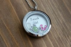 Beach Girl Locket Stainless Steel Hand Stamped by BeachCoveJewelry