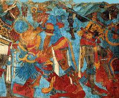 CACAXTLA TLAXCALA // parte del mural de la Batalla del sitio arquelógico de Cacaxtla, en Tlaxcala, (México). De la cultura Olmeca-Xicallanca, es de tipo fortificación ya que está en lo alto de un cerro. Aproximadamente del 700 d.c.